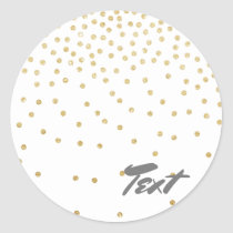 elegant gold glitter confetti dot pattern on classic round sticker