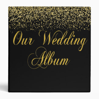 Elegant Gold Glitter Confetti Wedding Photo Album Binder