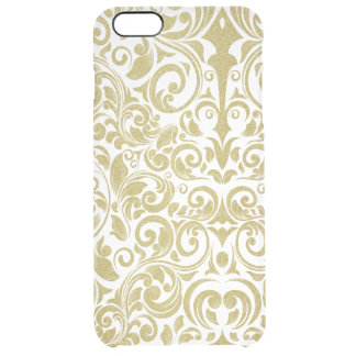 Elegant Gold Glitter Damask Floral Transparent Uncommon Clearly™ Deflector iPhone 6 Plus Case