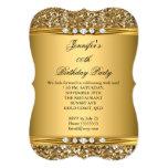 Elegant Gold Glitter Diamond Birthday Party B Card