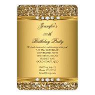 Elegant Gold Glitter Diamond Birthday Party Cards