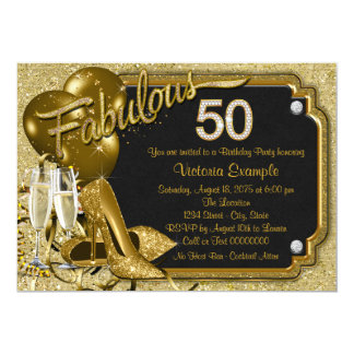 Elegant Gold Glitter Fabulous 50 Birthday Party Card