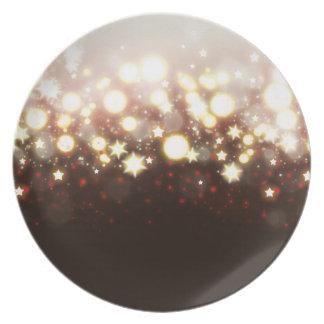 Elegant gold glitter fireworks lights and stars dinner plate