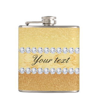 Elegant Gold Glitter Foil and Diamonds Hip Flask