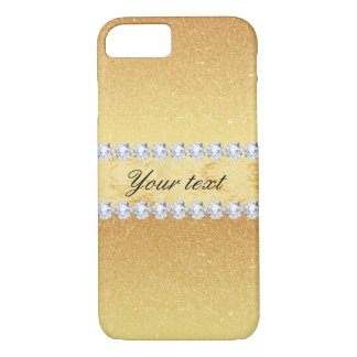 Elegant Gold Glitter Foil and Diamonds iPhone 8/7 Case