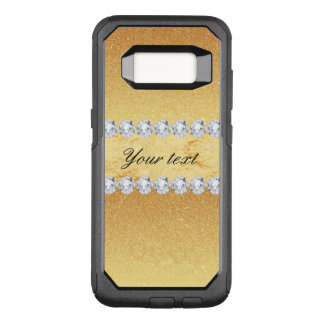 Elegant Gold Glitter Foil and Diamonds OtterBox Commuter Samsung Galaxy S8 Case