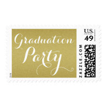 Elegant Gold Glitter Graduation Party Postage