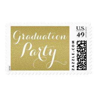 Elegant Gold Glitter Graduation Party Postage