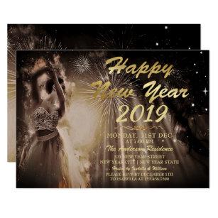 elegant gold glitter happy new year dancing party invitation
