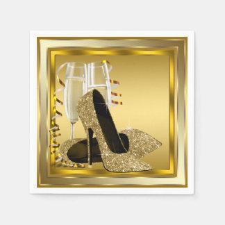 Elegant Gold Glitter High Heel Standard Cocktail Napkin