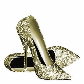 Elegant Gold Glitter High Heel Shoes Standing Photo Sculpture