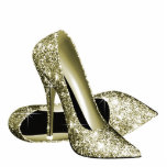 """Elegant Gold Glitter High Heel Shoes Statuette<br><div class=""""desc"""">Elegant gold glitter high heel shoe photo sculpture. You can choose your size,  quantity and product type by choosing the customize it button to begin.</div>"""