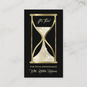Elegant Gold Glitter Hourglass Hair and Makeup Appointment Card