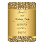 Elegant Gold Glitter Look Diamond Birthday Party 5x7 Paper Invitation Card