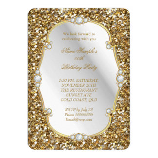 Elegant Gold Glitter Look Diamond Birthday Party A Card