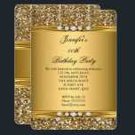"""Elegant Gold Glitter Look Diamond Birthday Party Card<br><div class=""""desc"""">Elegant Gold Glitter Look Diamond Birthday Party Gold woman&#39;s Girl. Invitation Formal. Use for any event invitation. Customize to change age and details. Customize with your own details and age. Template for Sweet 16, 16th, Quinceanera 15th, 18th, 20th, 21st, 30th, 40th, 50th, 60th, 70th, 80th, 90, 100th, Fabulous product for...</div>"""