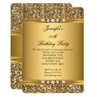 Elegant Gold Glitter Look Diamond Birthday Party Card