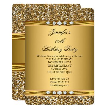 Zizzago Elegant Gold Glitter Look Diamond Birthday Party Card