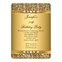 Elegant Gold Glitter Look Diamond Birthday Party Card