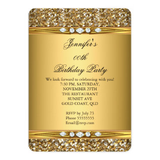 Elegant Gold Glitter Look Diamond Birthday Party Card at Zazzle