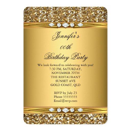 Elegant Gold Glitter Look Diamond Birthday Party Card   Zazzle