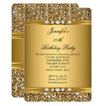 Elegant Gold Glitter Look Diamond Birthday Party Invitation