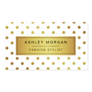Elegant Gold Glitter Polka Dots Double-Sided Standard Business Cards (Pack Of 100)