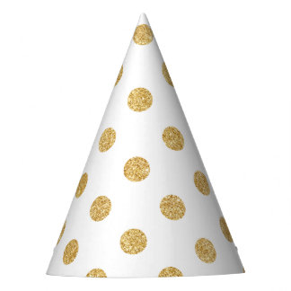 Elegant Gold Glitter Polka Dots Pattern Party Hat