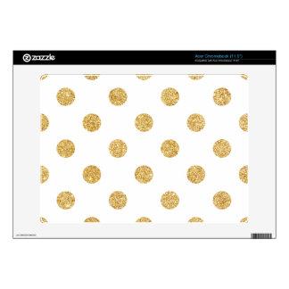 Elegant Gold Glitter Polka Dots Pattern Skin For Acer Chromebook