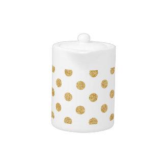 Elegant Gold Glitter Polka Dots Pattern Teapot