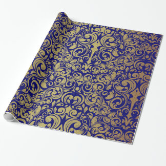 Elegant Gold Glitter Royal Blue Damask Wrapping Paper