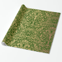 Elegant Gold Glitter Royal Green Damask Wrapping Paper