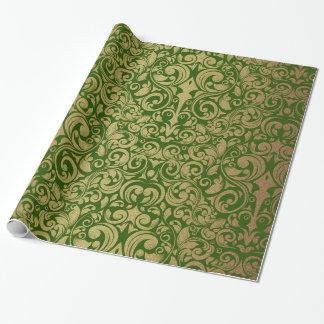 Elegant Gold Glitter Royal Green Damask Wrapping Paper