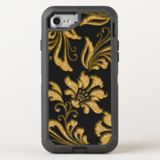 Elegant Gold Glitter Sculpted Floral Swirls OtterBox Defender iPhone 7 Case