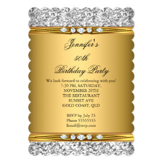 Elegant Gold Glitter Silver Diamond Birthday Party Card