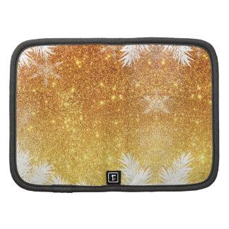 Elegant Gold Glitter Snowflake Pine Winter Organizer