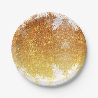 Elegant Gold Glitter Snowflake Pine Winter 7 Inch Paper Plate