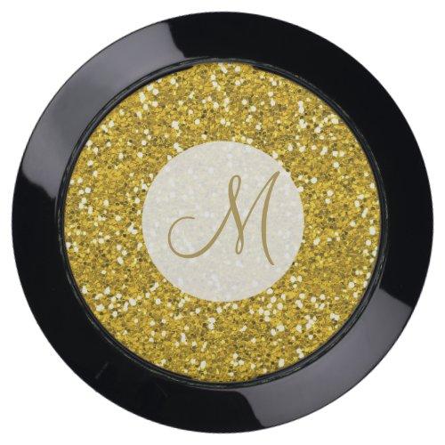 Elegant Gold Glitter Wedding Monogram USB Charging Station
