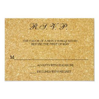 Elegant Gold Glitter Wedding Response Cards RSVP