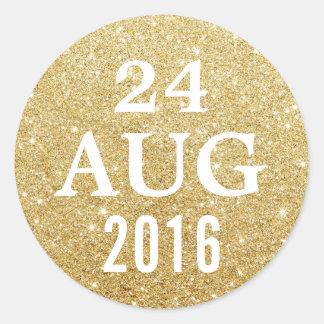 Elegant Gold Glitter Wedding Save the Date Classic Round Sticker