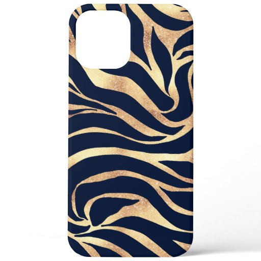 Elegant Gold Glitter Zebra Nay-Blue Animal Print iPhone 12 Pro Max Case
