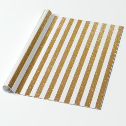 Elegant gold glittery striped wrapping paper