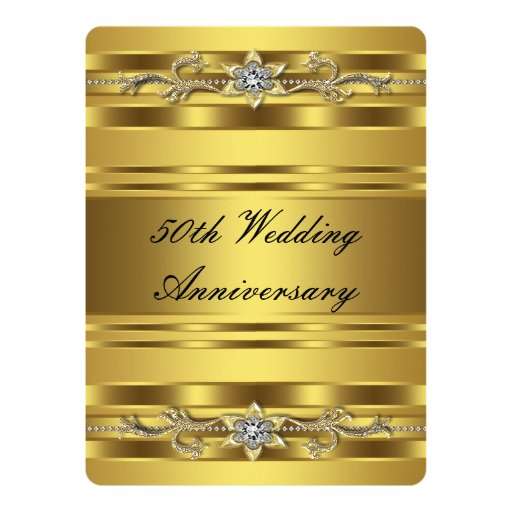 Golden Wedding Anniversary Gift Experiences : Elegant Gold Golden 50th Wedding Anniversary Card Zazzle