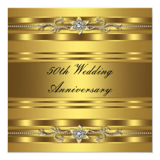 Elegant Gold Golden 50th Wedding Anniversary Invitation