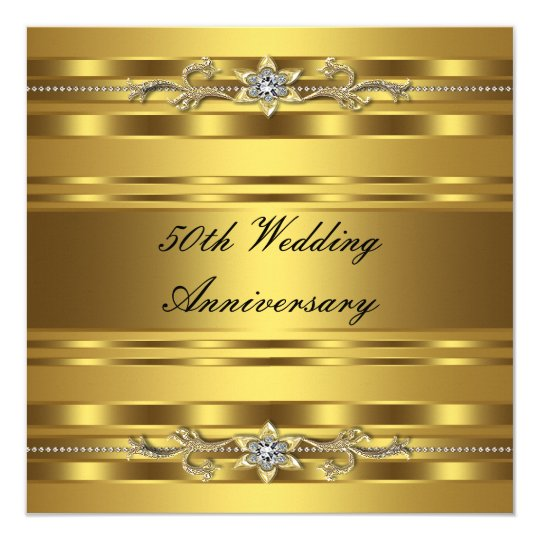 elegant gold golden 50th wedding anniversary invitation zazzle com