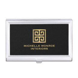 Decorative business card holders cases zazzle elegant gold greek key interior designer black business card case colourmoves Gallery