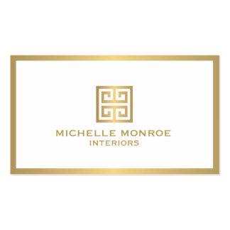 Elegant Gold Greek Key Interior Designer Business Card
