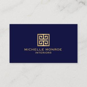 Dark blue business cards zazzle elegant gold greek key interior designer dark blue business card colourmoves
