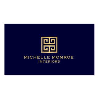 Elegant Gold Greek Key Interior Designer Dark Blue Business Card