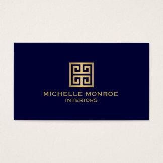 Elegant Gold Greek Key Interior Designer Dark Blue Business Card